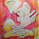 Mantel der Liebe, Acrylgemälde auf Leinwand, Liebespaar,