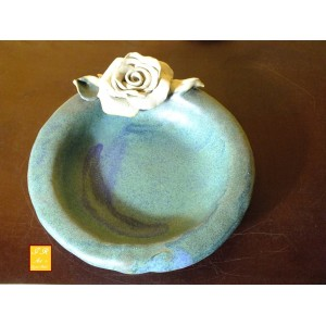 Keramik Rosen-Teller mit einer Rose
